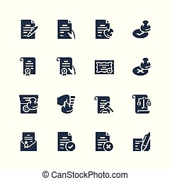 Vector icon set of legal documents
