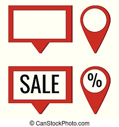 Vector icon set of round and square red map pointer with empty place and text sale and percent
