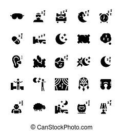 Vector icon set of sleep in flat style.