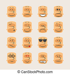 Vector icon set of smiley faces emotions mood and expression