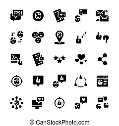 Vector icon set of social networks in flat style.