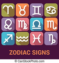 Vector icon set of Zodiac Signs in flat style