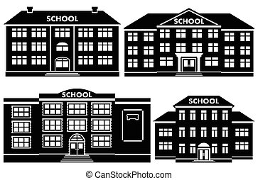 Vector icon set school buildings.