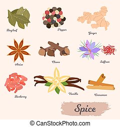 vector icon set - spices and condiments