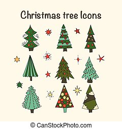 Vector icon set with Christmas trees.