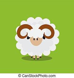 vector, icon., sheep, ilustrador, plano, resumen