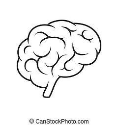 Vector icon, silhouette of the brain. Empty outline isolated on a white background, stock illustration