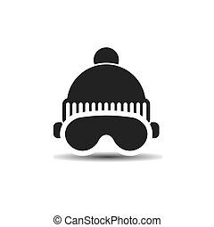 Vector icon ski cap and glasses with shadow