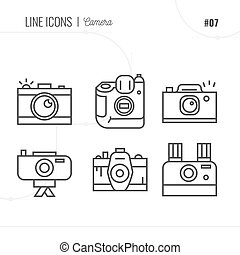 Vector Icon Style Illustration of Photography. Line icons set.