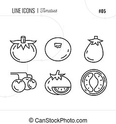 Vector Icon Style Illustration of Tomatoes. Line icons set.