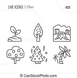Vector Icon Style Illustration of trees, forest, plant. Line icons set.