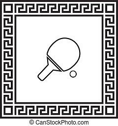 Vector icon tennis racket in a frame with a Greek ornament
