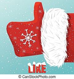 Santa Claus like it - Vector icon thumbs up Santa Claus like...