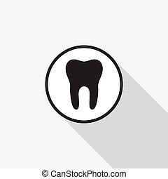 Vector icon tooth with a long shadow on the background