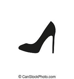 vector., icon., vrouw, zwarte schoen