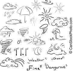 Vector icon weather set doodle signs