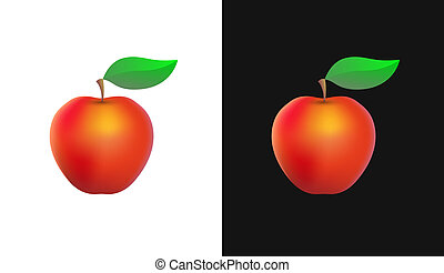 Vector Icon with Organic Apple
