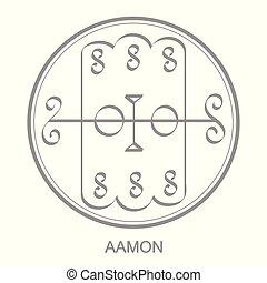 icon with symbol of demon Aamon Sigil of Demon Aamon -...