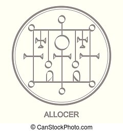icon with symbol of demon Allocer Sigil of Demon Allocer -...