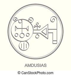 Vector icon with symbol of demon Amdusias Sigil of Demon...