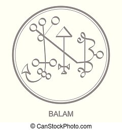 Vector icon with symbol of demon Balam Sigil of Demon Balam
