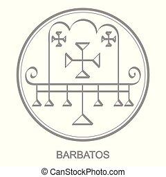 Vector icon with symbol of demon Barbatos Sigil of Demon...
