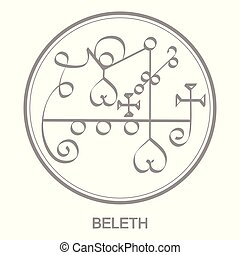 Vector icon with symbol of demon Beleth. Sigil of Demon...