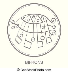 Vector icon with symbol of demon Bifrons. Sigil of Demon...