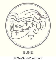 Vector icon with symbol of demon Bune  Sigil of Demon Bune