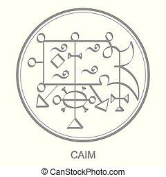 Vector icon with symbol of demon Caim. Sigil of Demon Caim