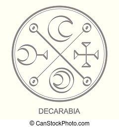 Vector icon with symbol of demon Decarabia. Sigil of Demon...