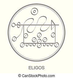 Vector icon with symbol of demon Eligos. Sigil of Demon...