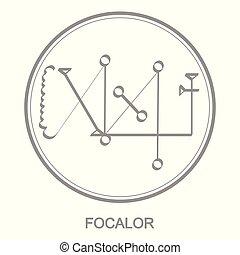 Vector icon with symbol of demon Focalor. Sigil of Demon...