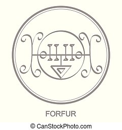 Vector icon with symbol of demon Forfur. Sigil of Demon...