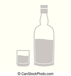 icon with whiskey bottle and glass