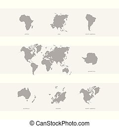 icon with world map and world continents