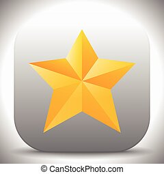 Vector icon with yellow and orange faceted star.