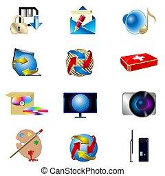 vector, iconen, collection., vrijstaand, getrokken, witte , achtergrond.
