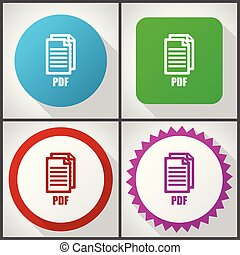 vector, iconen, met, 4, options., pdf, plat, ontwerp,...