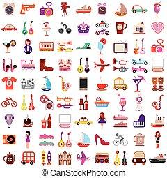vector, iconen, op wit, achtergrond
