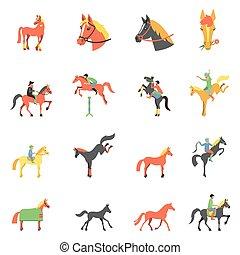 vector, iconen, paarde, set.