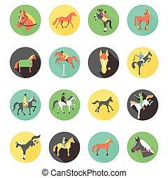 vector, iconen, paarde, set., wild, horses.