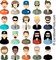vector, iconen, set, plat, men., illustratie