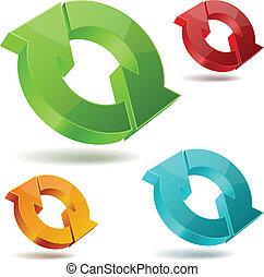 vector, iconen, van, glanzend, het circuleren, 3d, pijl,...
