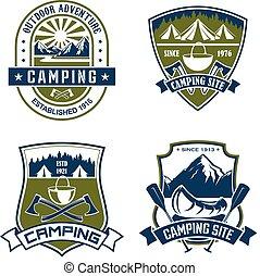 vector, iconen, voor, camping, berg, avontuur