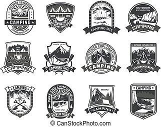 vector, iconen, voor, kamperen, berg, avontuur