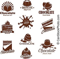 Vector iconis of chocolate candy desserts splash - Chocolate...