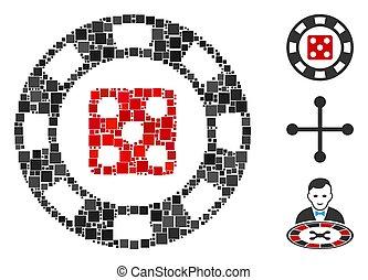 vector, icono, astilla, casino, collage, cuadrado, dados