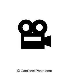 vector, icono, cámara, plano, cine, película, video