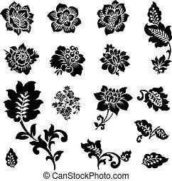 vector, icono, conjunto, de, flores, y, florals